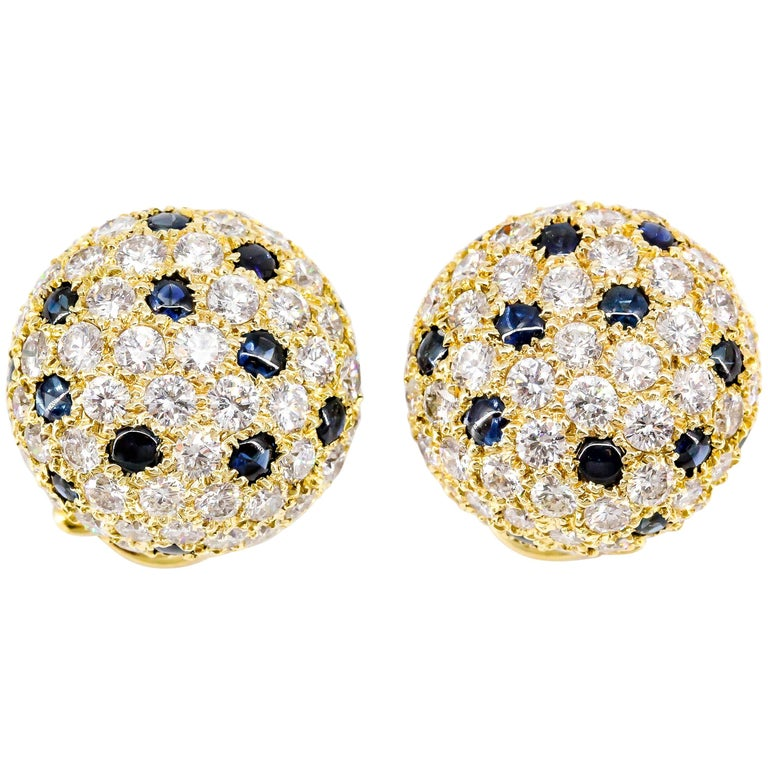 Cartier London Sapphire Diamond Gold Dome Earrings For Sale