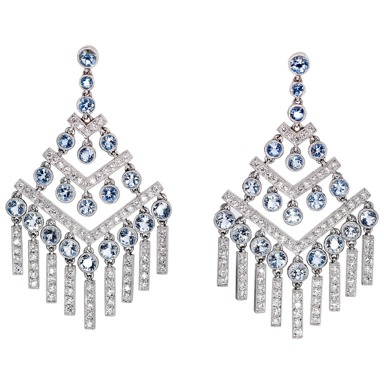 Tiffany & Co. Aquamarine Diamond Platinum Chandelier Earrings For Sale