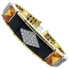 Michael Bondanza Onyx Citrine and Diamond Bracelet