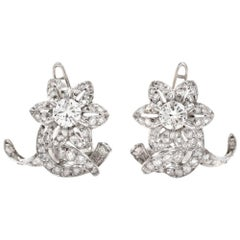 1950s Diamond Platinum Floral Motif Clip-On Earrings