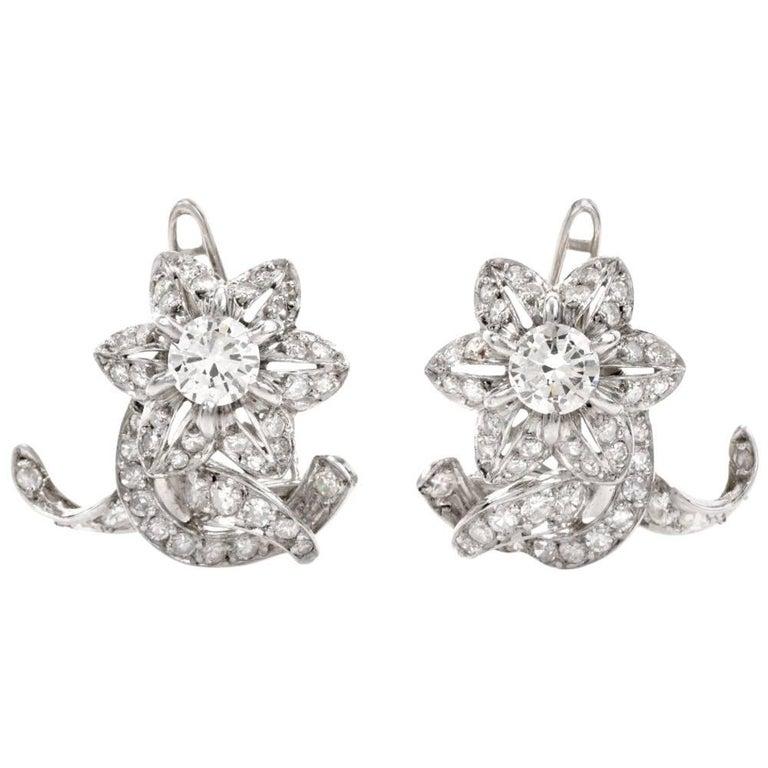 1950s Diamond Platinum Floral Motif Clip-On Earrings