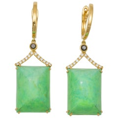 Frederic Sage Green Turquoise Black Diamond Earrings