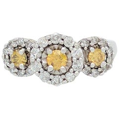 14KWG Fancy Yellow and White Diamond Three-Stone Halo Right Hand Ring 1 Carat