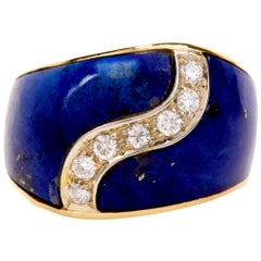 1960s Lapis Lazulis Yellow Gold Diamond Cocktail Ring