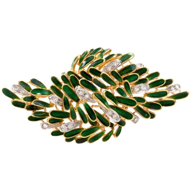 Estate Green Enamel Gold Diamond Naturalistic Leaf Brooch Pin Signed Retzigna