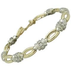Ladies 14 Karat Two-Tone 1.40 Carat Diamond Tennis Bracelet