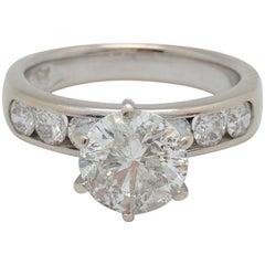14 Karat White Gold 1.76 Carat Round Natural Diamond Engagement Ring I1/I