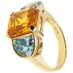 1980s Golden Citrine Aquamarine Three-Stone Gold Ring
