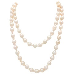 14 Karat Yellow Gold Baroque Pearl Necklace