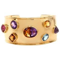 Stylish Multi-Gem Wide 18 Karat Gold Cuff Bracelet Signed Muzo