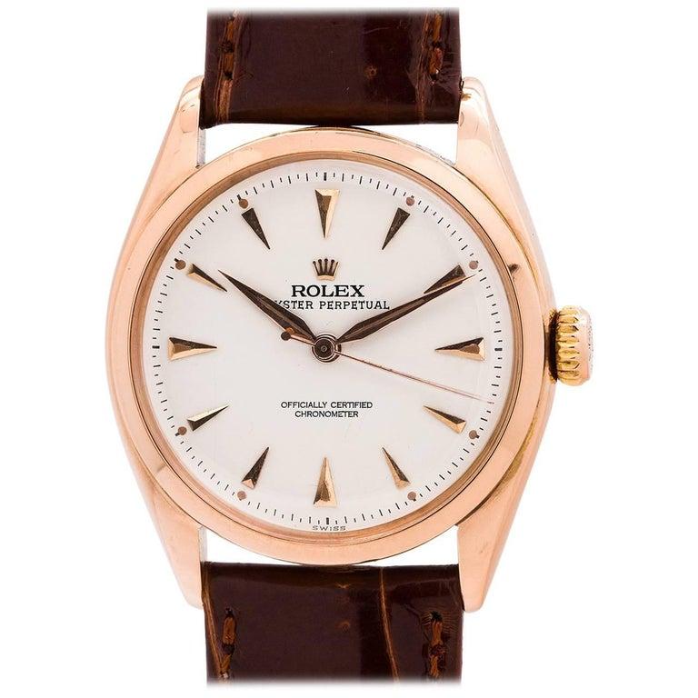 Rolex Rose Gold Oyster Perpetual self winding wristwatch ref 6084, circa 1952