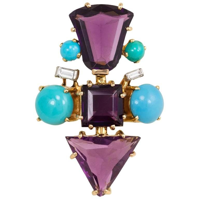 1950s Amethyst, Turquoise and Diamond Ring of Geometric Design For Sale