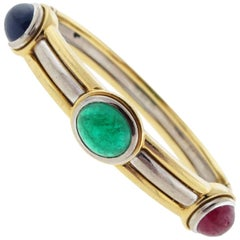 Wempe Emerald Sapphire Ruby 18 Karat Gold Bracelet