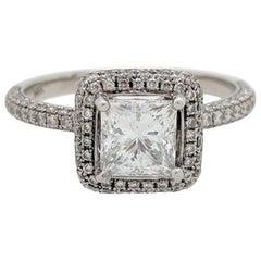 1.06 Carat Princess Cut Natural Diamond Halo Ring GIA Certified VVS2/E