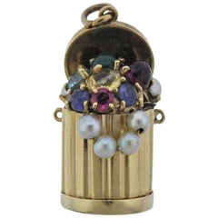 Midcentury Pearl Ruby Sapphire Emerald Gold Trash Can Charm