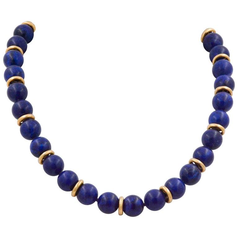 Lapis Lazuli Bead Necklace with 14 Karat Yellow Gold
