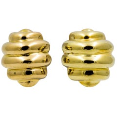 18 Karat Yellow Domed Earrings