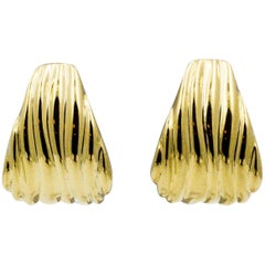 Tapered Ridged Clip On 14 Karat Gold Earrings