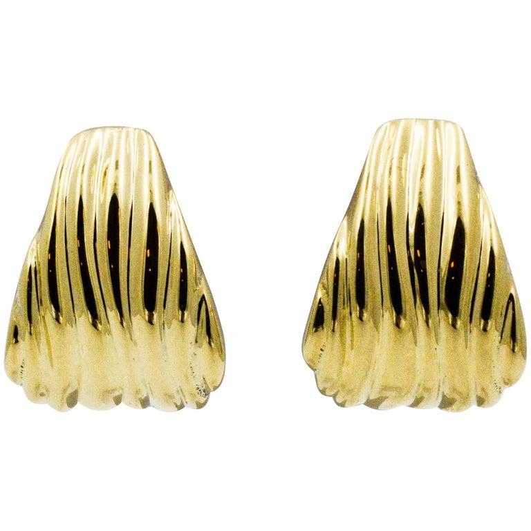 Tapered Ridged Clip On 14 Karat Gold Earrings