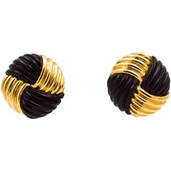 14 Karat Yellow Gold Black Onyx Swirl Clip Earrings
