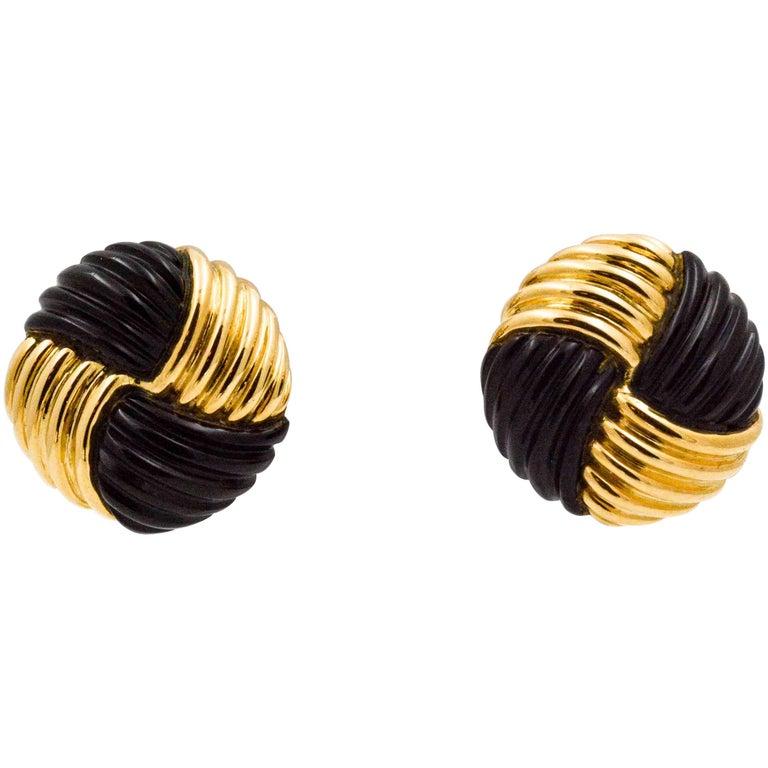 14 Karat Yellow Gold Black Onyx Swirl Clip Earrings