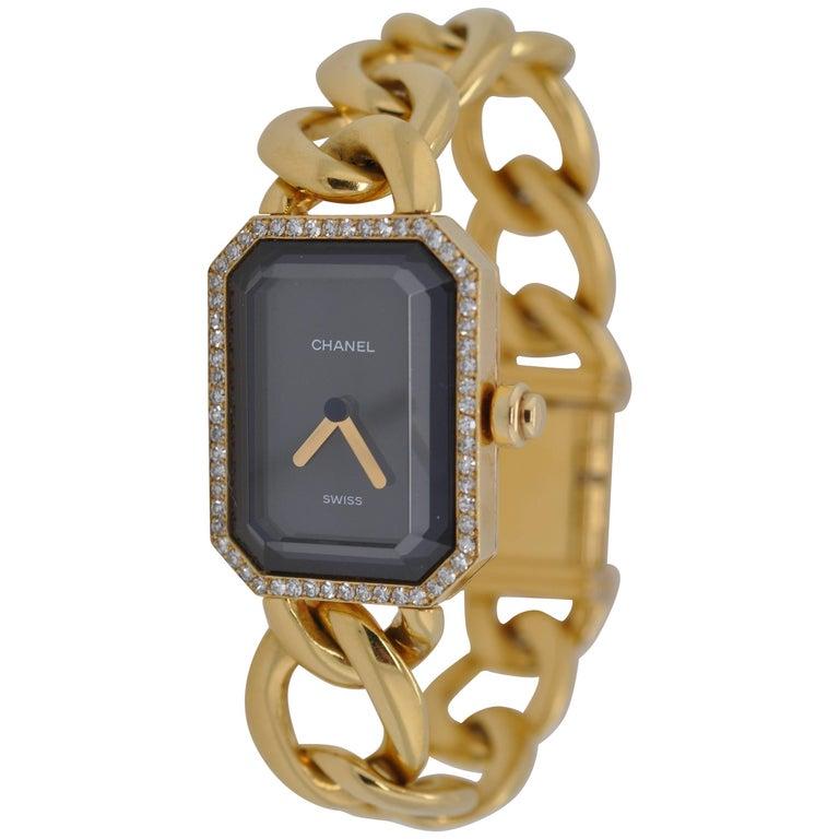 Chanel Yellow Gold Diamond Bezel and Lock Premiere Chain Wristwatch