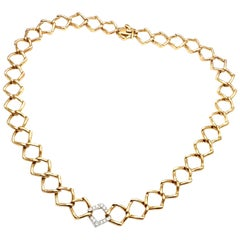Tiffany & Co. Paloma Picasso Link Diamond Platinum Yellow Gold Link Necklace