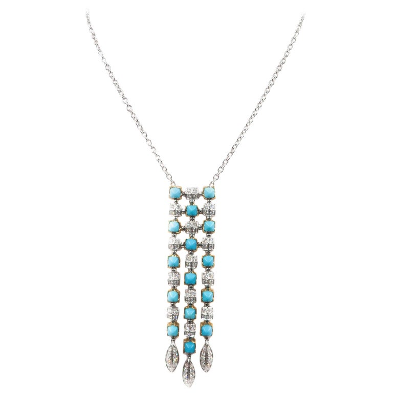 Turquoise and Diamond White Gold Necklace