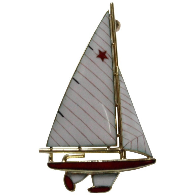 14 Karat Yellow Gold and Enamel Red and White Sailboat Brooch/Pin