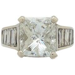 14 Karat White Gold 4.80 Carat Princess Cut Diamond Engagement Ring I1/G