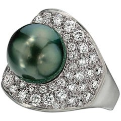 Wendy Brandes South Sea Pearl 1.90 TCW Diamond Halo Ring in Platinum