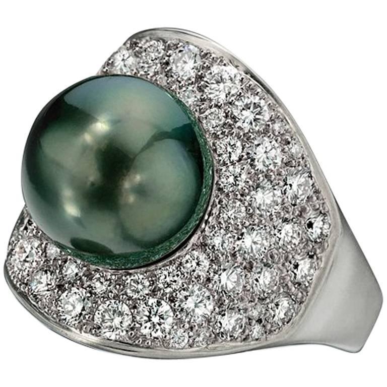 Wendy Brandes Night Sky South Sea Pearl Mega Diamond Halo Platinum Ring For Sale