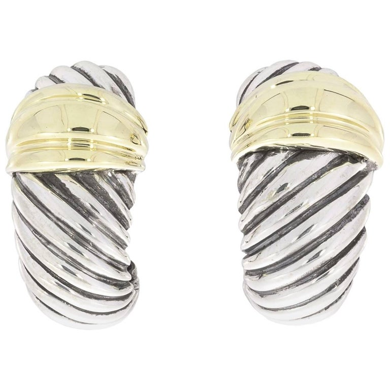David Yurman Silver And Yellow Gold Large Thoroughbred Shrimp Cable Earrings For