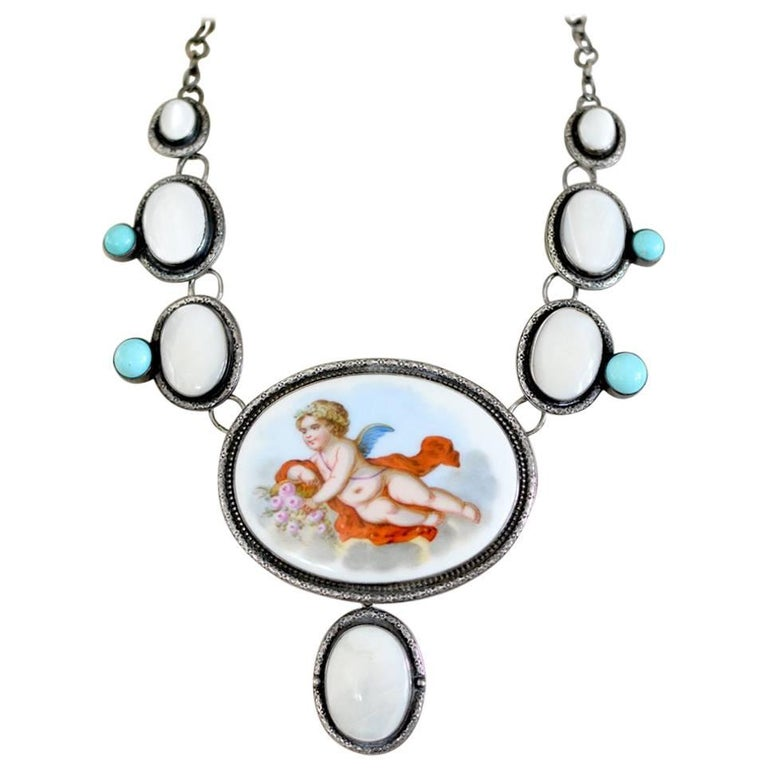 Jill Garber French Porcelain Cherub with Mother-of-Pearl and Turquoise Necklace