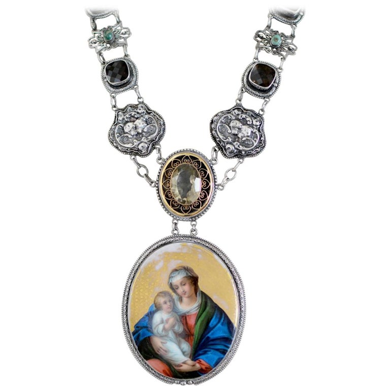 Jill Garber Antique Sacred French Portrait Necklace with Topaz and Turquoise