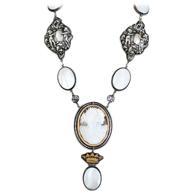 Jill Garber Goddesses Cameo with Mother-of-Pearl and Repousse Drop Necklace