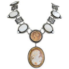 Jill Garber Antique Goddess Cameo in Gold with Mother-of-Pearl Drop Necklace