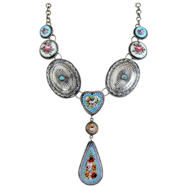 Jill Garber Antique Micro Mosaic, Early Sterling Turquoise Concho Drop Necklace
