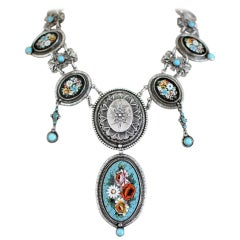 Jill Garber Antique Venetian Micro Mosaic and Natural Turquoise Festoon Necklace