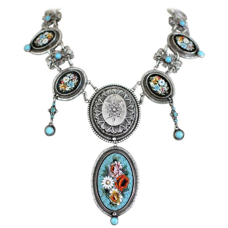 Jill Garber Antique Venetian Micro Mosaic Tesserae with Turquoise Drop Necklace For Sale