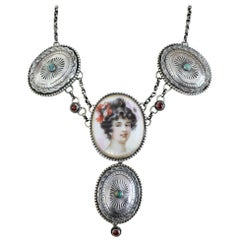 Jill Garber Art Nouveau Portrait with Turquoise Conchos and Garnet Drop Necklace