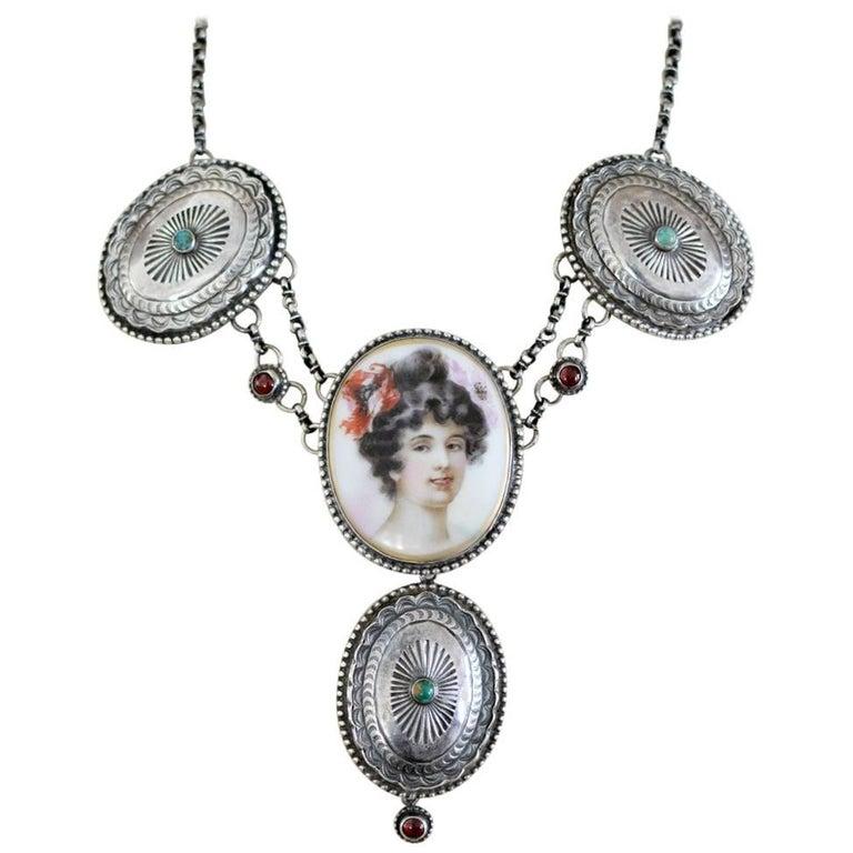 Jill Garber Art Nouveau Portrait with Turquoise Conchos and Garnet Drop Necklace