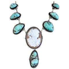 Jill Garber Antique Georgian Cameo with Turquoise Sterling Silver Drop Necklace