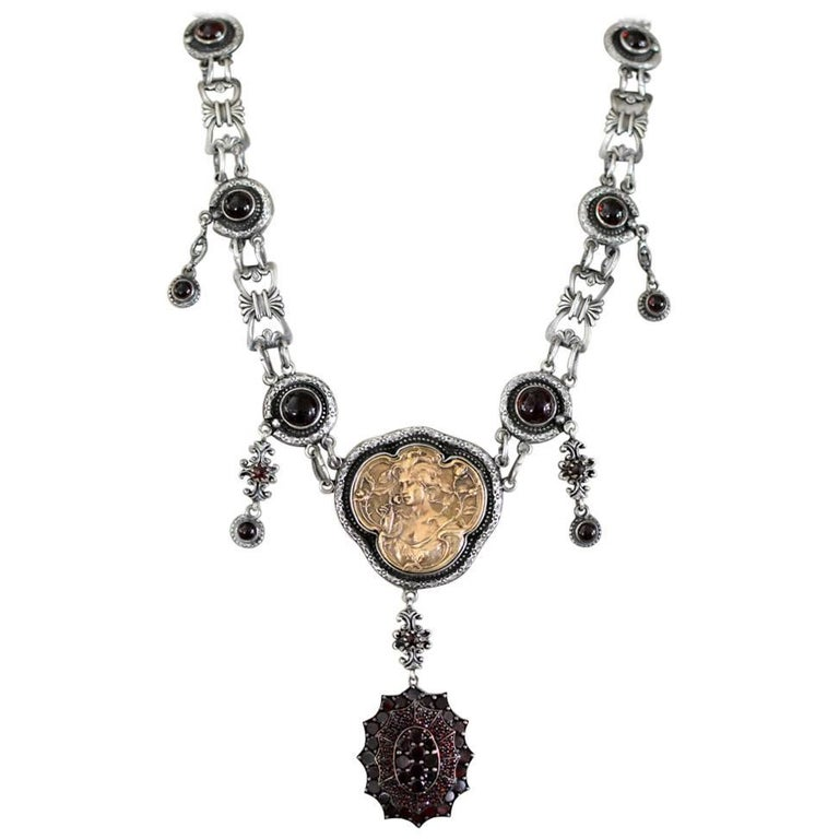 Jill Garber Antique Garnet with French Medal Sterling Drop Necklace