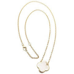 Van Cleef & Arpels Pure Alhambra Mother-of-Pearl Gold Pendant Necklace