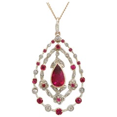 1910s Antique 1.88 Carat Ruby and Diamond Yellow Gold Pendant