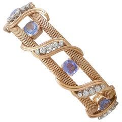13.56 Carat Ceylon Sapphire and 2.82 Carat Diamond, Yellow Gold Bracelet