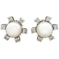 1970s Cultured Pearl and Diamond, White Gold Stud Earrings