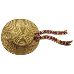 18 Karat Yellow Gold and Rubies Venetian Gondolier Hat Broach and Pendant