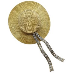 White and Yellow 18 Karat Gold Venetian Gondolier Hat Broach and Pendant
